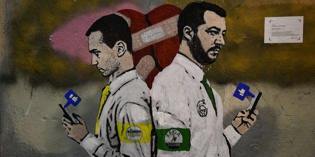 A new mural by Italian street artist TvBoy, entitled 'La Guerra dei Socials' (The War of Social Media),...