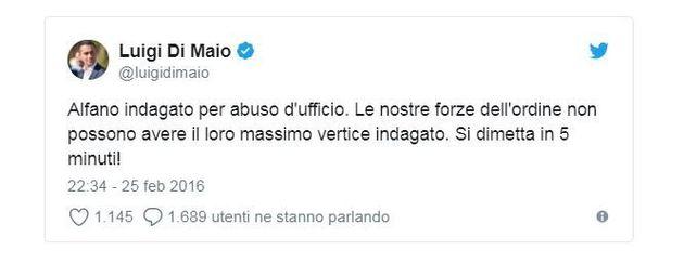 Salvini indagato e Di Maio abbozza. Due anni fa chiese le dimissioni di Alfano indagato
