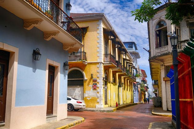 The old town area known as Casco Viejo in Panama City, Panama, and its historic