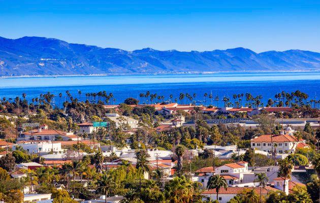 Orange Roofs Buildings Coastline Pacific Oecan Santa Barbara
