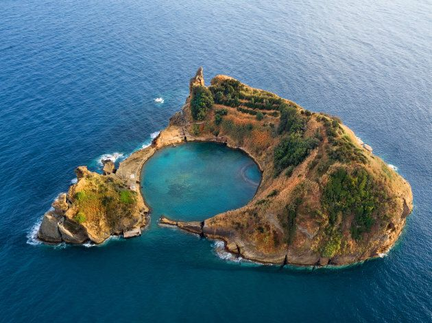 Top view of Islet of Vila Franca do Campo is formed by the crater of an old underwater volcano near San...
