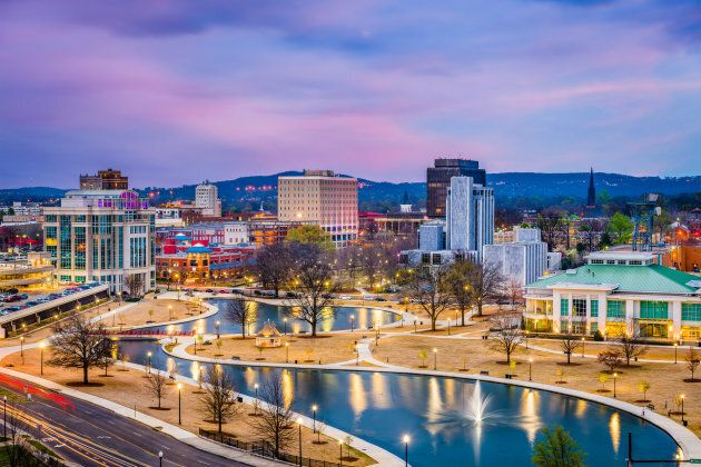 Huntsville, Alabama, USA park and downtown cityscape at