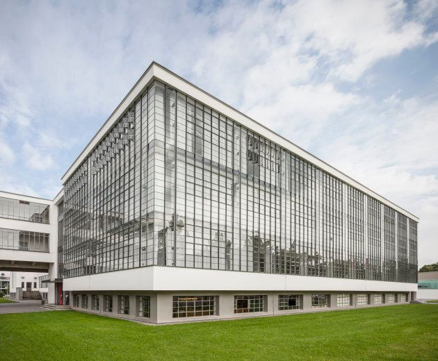 Famous glass facade of the central bauhaus building in