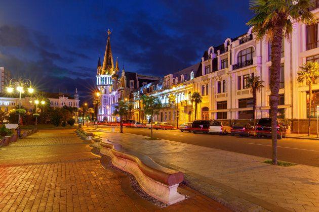 View of the square of Europe in the night illumination. Batumi.