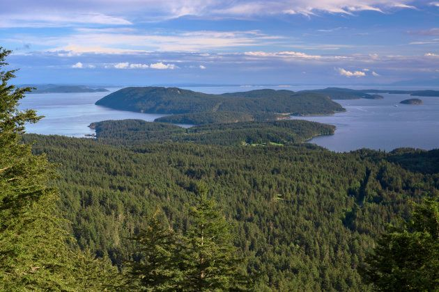 View from Little Summit in Moran State Park on Orcas Island towards Obstruction Island, Blakely and Decatur...