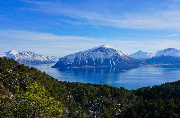 Dramatic landscape at the Hjorundfjord,