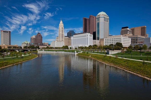 The city of Columbus, Ohio sits along the Scioto River in the downtown, urban