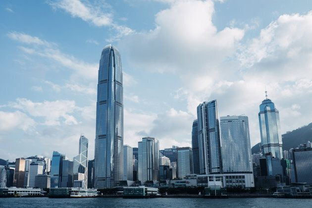 Concrete jungle of Hong Kong cityscape and modern skyscrapers in Central business