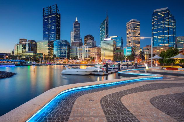 Cityscape image of Perth downtown skyline, Australia during