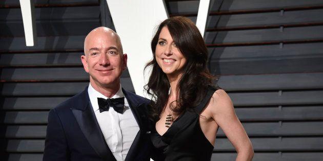 Jeff Bezos, left, and MacKenzie Bezos arrive at the Vanity Fair Oscar Party on Monday, Feb. 27, 2017,...