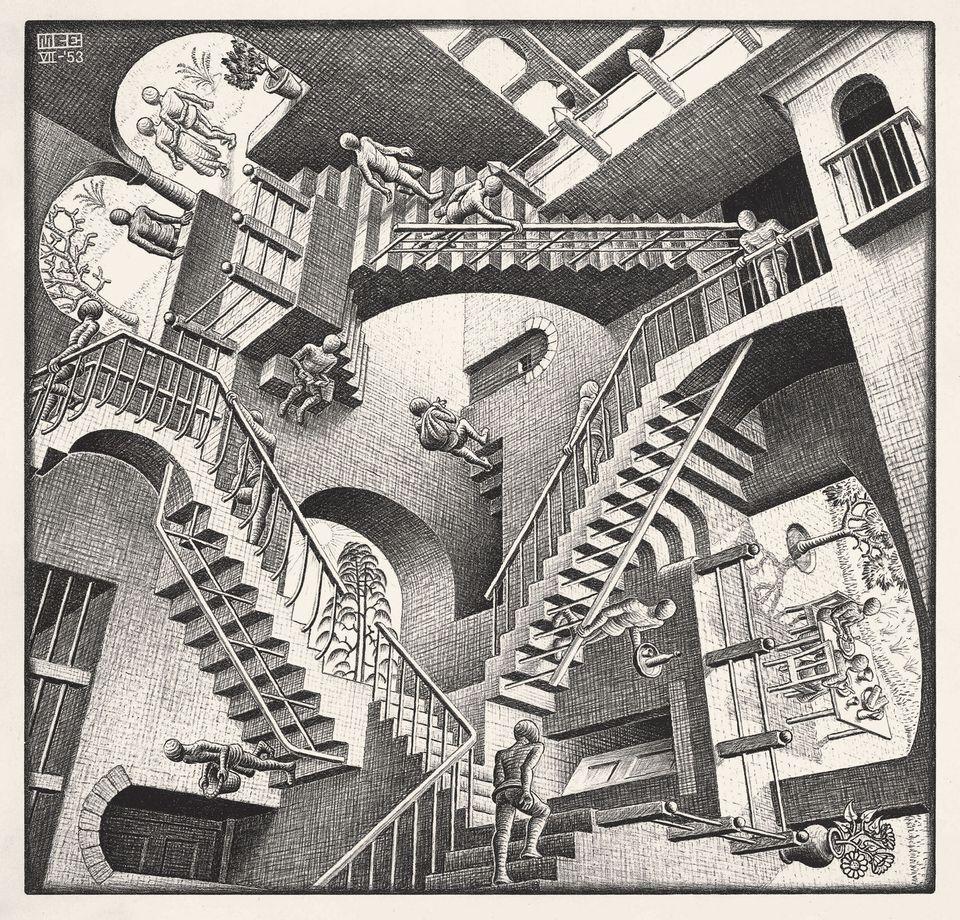 Relatività, 1953 Litografia, 27,7x29,2 cm Collezione privata, Italia All M.C. Escher