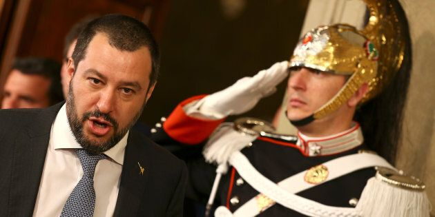 League party leader Matteo Salvini leaves after a meeting with Italian President Sergio Mattarella during...