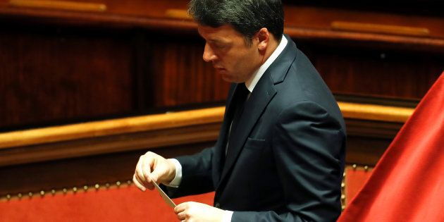 Former Prime Minister and senator Matteo Renzi casts his vote at the Senate during the first session...