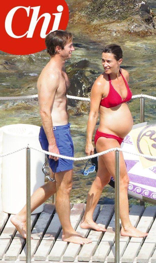 Pippa raggiante in bikini al 7° mese di gravidanza in vacanza