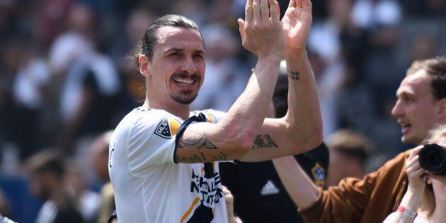 dMar 31, 2018; Carson, CA, USA; Los Angeles Galaxy forward Zlatan Ibrahimovic (9) claps after leading...