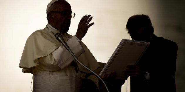 VATICAN CITY, VATICAN - AUGUST 29: Pope Francis delivers his blessing during his General Weekly Audience...