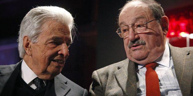 Umberto Eco (D) con Furio Colombo durante la presentazine del suo ultimo