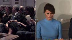 Melania non è mai sembrata così felice (con Trump) come con Obama al funerale di Barbara
