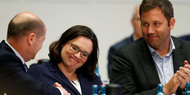 German Finance Minister Olaf Scholz congratulates new SPD leader Andrea Nahles as SPD Secretary General...