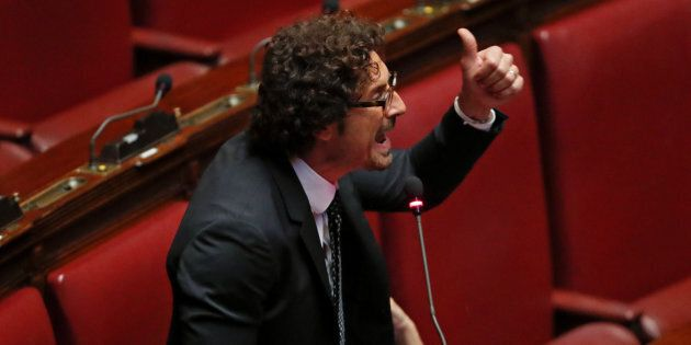 5-Star Movement deputy Danilo Toninelli speaks during a vote for electoral law in Rome, Italy, October...