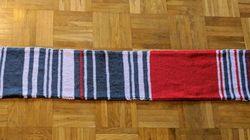 A ogni ritardo del treno allunga la sciarpa di una fila: arriva a 1 metro e mezzo e la vende a 7.550