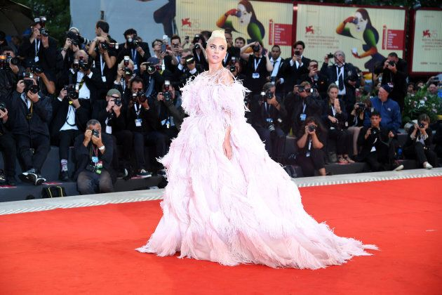 VENICE, ITALY - AUGUST 31: Lady Gaga walks the red carpet ahead of the 'A Star Is Born' screening during...