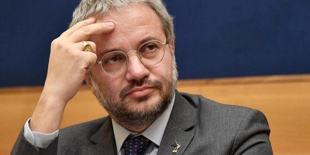 Il candidato della Lega Claudio Borghi durante una conferenza stampa, Roma, 23 gennaio 2018. ANSA / ETTORE