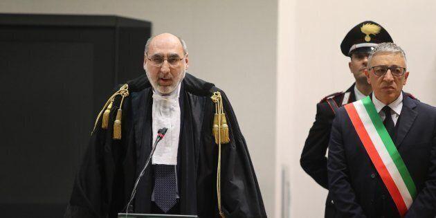 Il presidente della Corte D'Assise di Palermo Alfredo Montalto (S) durante la lettura della sentenza...