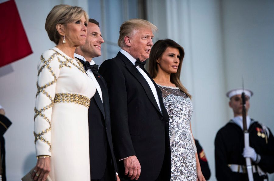 WASHINGTON, DC - APRIL 24: President Donald J. Trump and first lady Melania Trump greet French President...