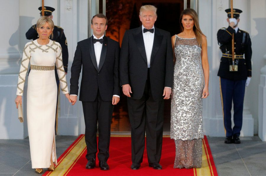 United States President Donald Trump and first lady Melania Trump welcome French President Emmanuel Macron...