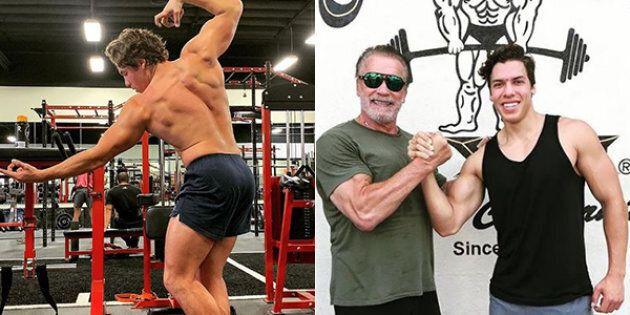 Il figlio di Schwarzenegger imita (alla perfezione) una celebre posa del