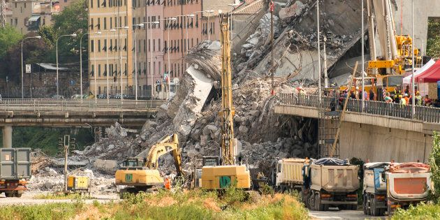GENOVA, LIGURIA, ITALY - 2018/08/20: Detail view of the Ponte Morandi collapsed on August 14 in Genoa...