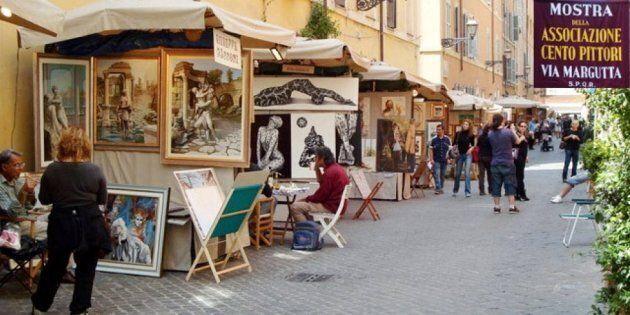"""Tornano i """"Cento pittori"""" a via Margutta: dal 27 aprile al 1° maggio, la storica via dell'arte 'colora'..."""