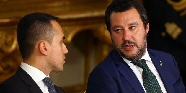 Interior Minister Matteo Salvini talks with Italy's Minister of Labor and Industry Luigi Di Maio at the...