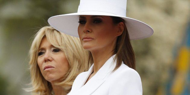 epa06689156 US First Lady Melania Trump (R) with French First Lady Brigitte Macron (L) during an arrival...