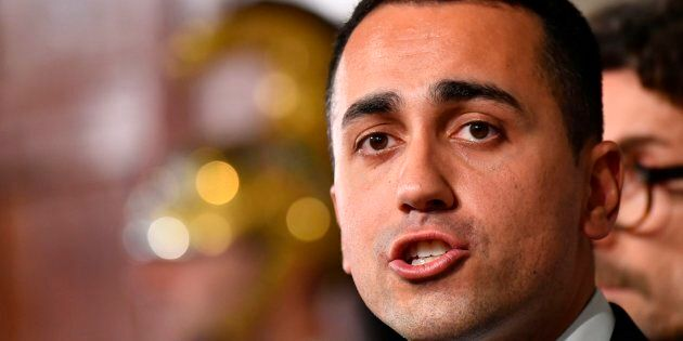 Five Star Movement (M5S) leader Luigi Di Maio speaks to journalists after a meeting with Italian President...