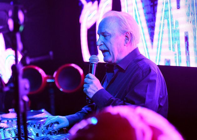 LOS ANGELES, CA - APRIL 26: DJ/Producer Giorgio Moroder performs onstage during his 78th birthday party...