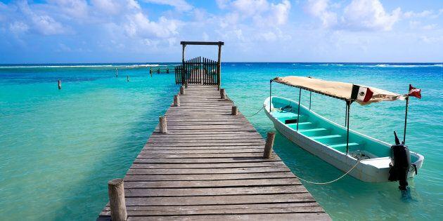 Mahahual Caribbean beach pier in Costa Maya of Mayan