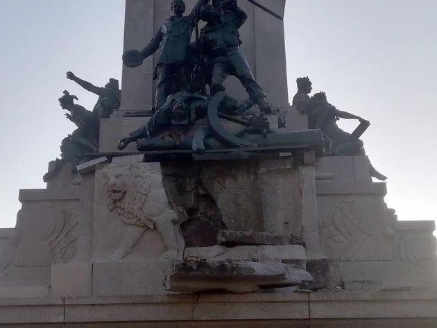 Un'immagine del monumento di Garibaldi al Gianicolo con la base della statua che risulta