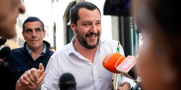 ROME, ITALY - APRIL 26: Leader of Lega political party, Matteo Salvini, leaves the parliament after a...