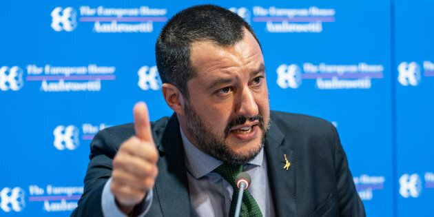 Matteo Salvini, Italy's deputy prime minister speaks during the�Ambrosetti�Forum in Cernobbio, Italy,...