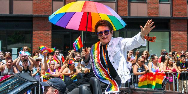 cBillie Jean King, Grand Marshal, waves to crowds at 2018 New York City Gay Pride