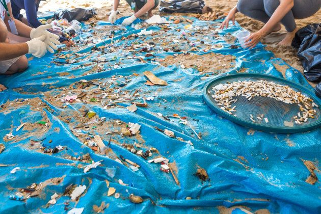Beach Cleaning. Cleaning dirty beaches by the action of man. Sustainability of the planet and preservation...