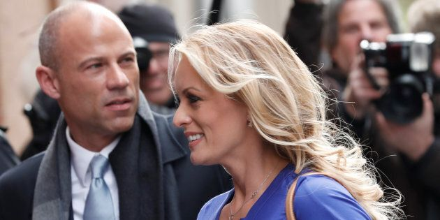 Adult-film actress Stephanie Clifford, also known as Stormy Daniels, arrives with her attorney Michael...