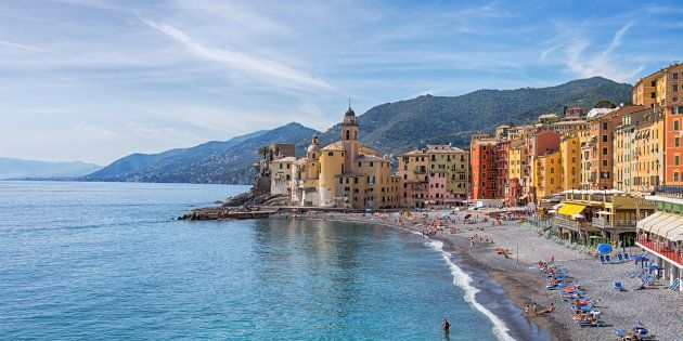 CAMOGLI, ITALY, MAY 23, 2017 - View of city of Camogli , Genoa Province, Liguria, Mediterranean coast,
