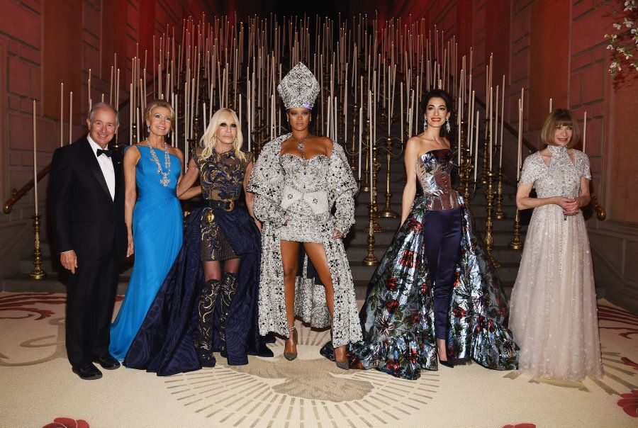 NEW YORK, NY - MAY 07: Stephen Schwarzman, Christine Schwarzman, Donatella Versace, Rihanna. Amal Clooney,...