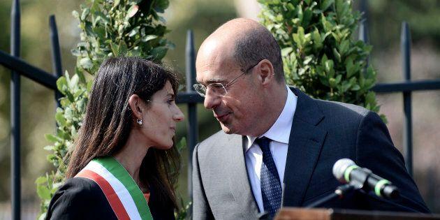 Virginia Raggi e Nicola Zingaretti litigano sulla discarica a