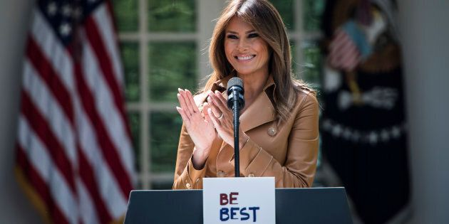 WASHINGTON, DC - MAY 7: First lady Melania Trump speaks about her new Be Best program and initiatives...