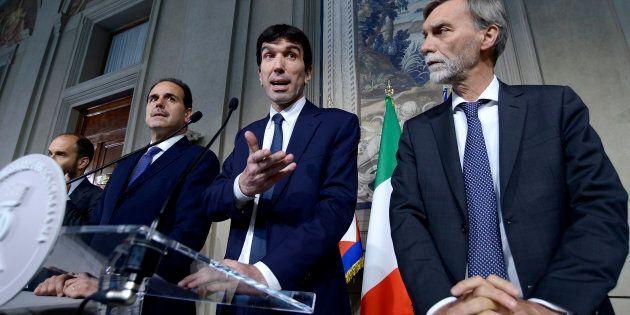 ROME, ITALY - MAY 07: Matteo Orfini, Andrea Marcucci, Maurizio Martina and Graziano Delrio, leader of...