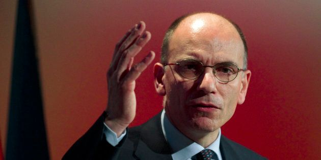 Italy's former Prime Minister Enrico Letta gestures as he delivers a keynote speech during an event in...
